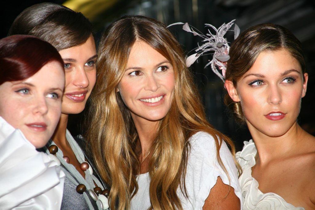 Series judge, model Elle Macpherson (centre) with the contestants during the launch of 2010 Britain's Next Top Model Series 6 at Circus, central London, 30/06/2010., Image: 76747564, License: Rights-managed, Restrictions: , Model Release: no, Credit line: Profimedia, TEMP Camerapress