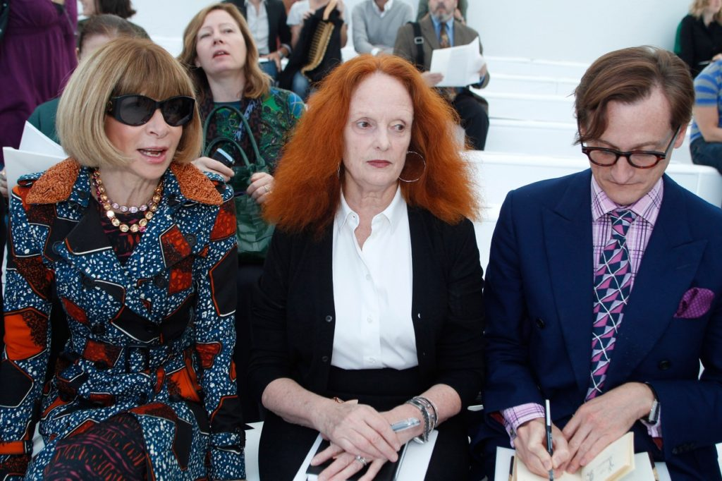Anna Wintour (left) and Grace Coddington (centre) arriving at the Louis Vuitton Spring-Summer 2012 show for Paris Fashion Week. 10/2011, Image: 104028781, License: Rights-managed, Restrictions: , Model Release: no, Credit line: Profimedia, TEMP Camerapress