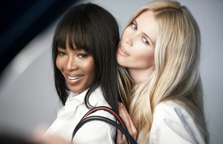 CPE/October 2013-Supermodels Naomi Campbell & Claudia Schiffer team up to support fight against cancer cause by posing for Tommy Hilfiger for Breast Health International campaign featuring the specially designed handbag. In charge of the photography was the legendary Patrick Demarhcelier.