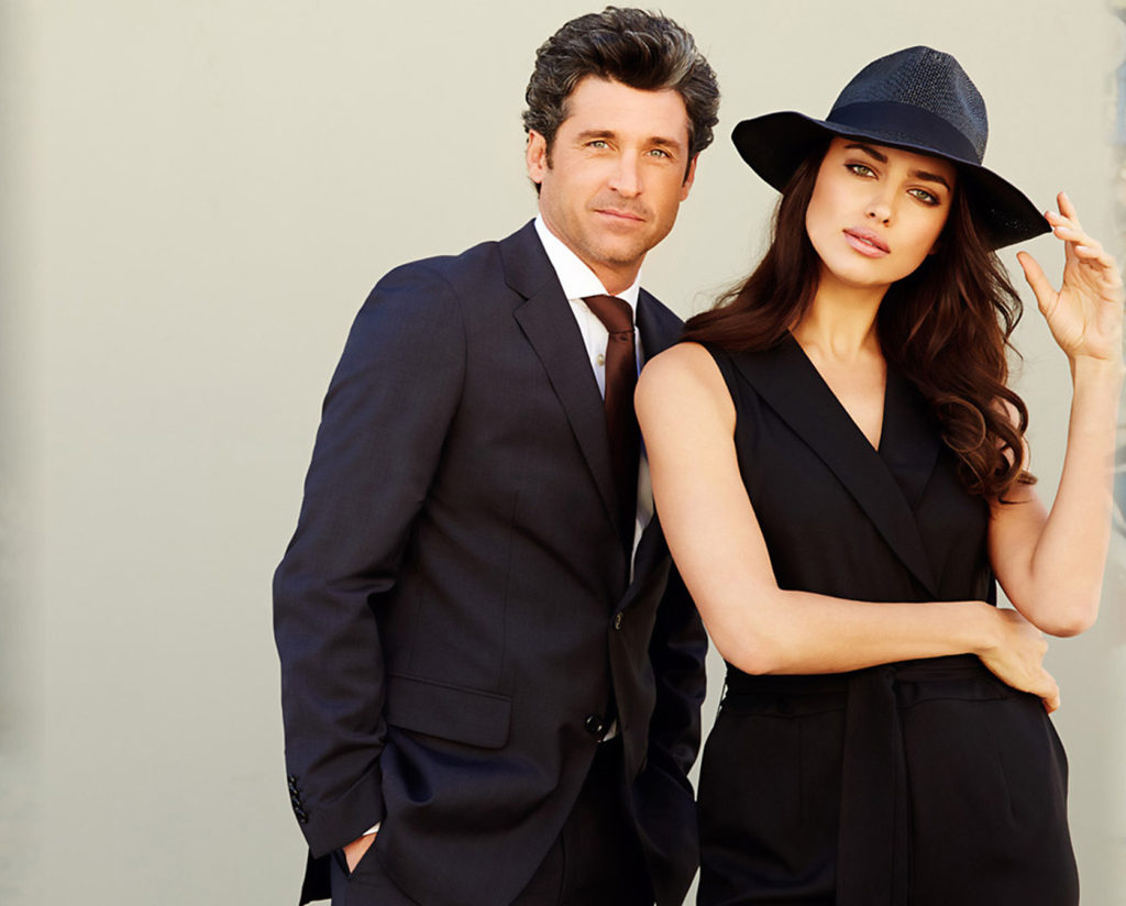 Irina Shayk and Patrick Dempsey for Sacoor Brothers.