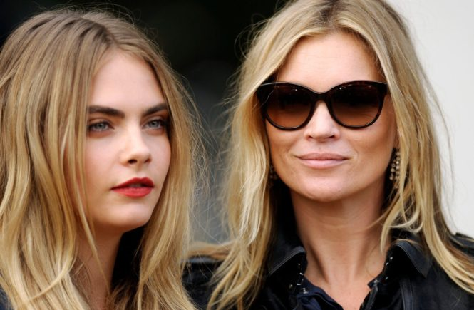 Cara Delevingne and Kate Moss attending the Burberry Prorsum s/s2015 fashion show in Kensington Gardens, London, UK. 15/09/2014., Image: 221807238, License: Rights-managed, Restrictions: , Model Release: no, Credit line: Profimedia, TEMP Camerapress
