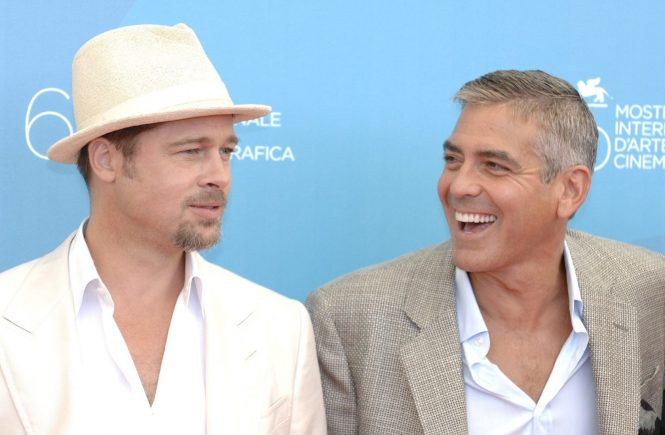 D 89795-08 Brad Pitt and George Clooney. . American actors Brad Pitt (left) and George Clooney, pictured attending a photocall for 'Burn After Reading' at the 65th Venice International Film Festival 2008 in Venice, Italy, 27/08/2008., Image: 222283177, License: Rights-managed, Restrictions: , Model Release: no, Credit line: Profimedia, TEMP Camerapress