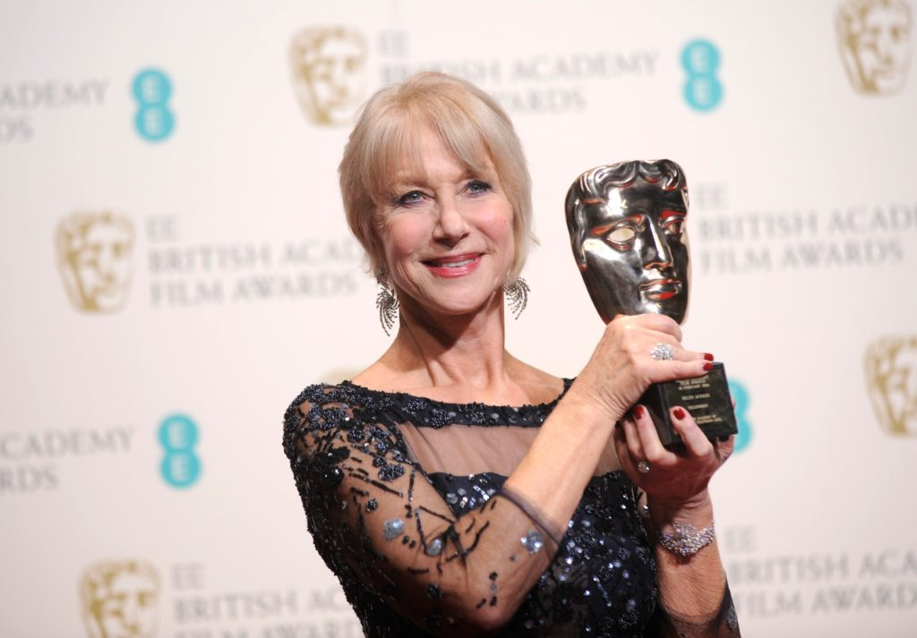Helen Mirren with her lifetime achievement award in the press room at the 2014 EE British Academy Film Awards (BAFTAs), the Royal Opera House, London, UK. 16/02/2014, Image: 229984738, License: Rights-managed, Restrictions: , Model Release: no, Credit line: Profimedia, TEMP Camerapress