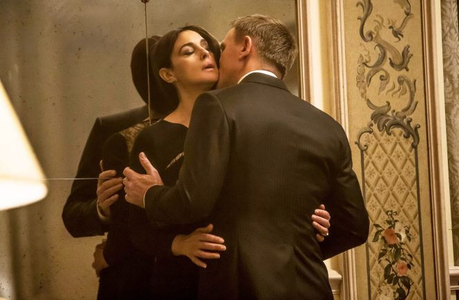 USA. Monica Bellucci and Daniel Craig in the ©Sony Pictures Entertainment new James Bond film: Spectre (2015). Plot: A cryptic message from Bond's past sends him on a trail to uncover a sinister organization. While M battles political forces to keep the secret service alive, Bond peels back the layers of deceit to reveal the terrible truth behind SPECTRE., Image: 268594908, License: Rights-managed, Restrictions: Supplied by Landmark Media. Editorial Only. Landmark Media is not the copyright owner of these Film or TV stills but provides a service only for recognised Media outlets., Model Release: no, Credit line: Profimedia, Landmark