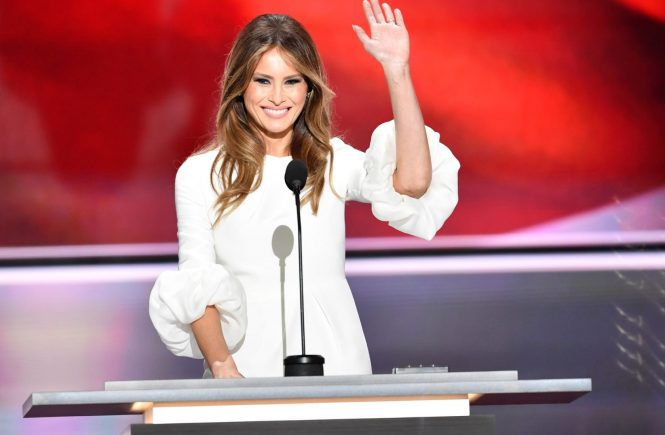 Melania Trump speaking at the Republican National Convention in Cleveland