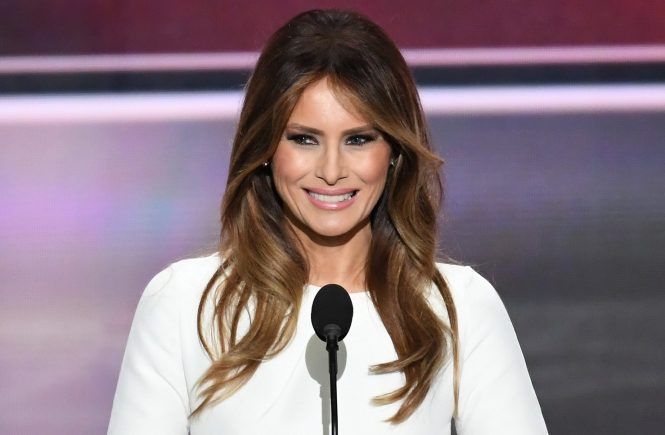 Melania Trump makes remarks at the 2016 Republican National Convention held at the Quicken Loans Arena in Cleveland, Ohio on Monday, July 18, 2016., Image: 294704216, License: Rights-managed, Restrictions: WORLD RIGHTS - Fee Payable Upon Reproduction - For queries contact Photoshot - sales@photoshot.com  London: +44 (0) 20 7421 6000  Los Angeles: +1 (310) 822 0419  Berlin: +49 (0) 30 76 212 251, Model Release: no, Credit line: Profimedia, UPPA News