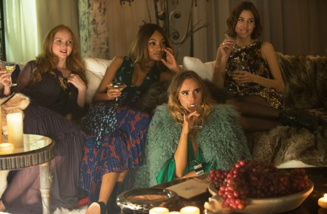 ABSOLUTELY FABULOUS: THE MOVIE, from left: Lily Cole, Jourdan Dunn, Suki Waterhouse, Alexa Chung,