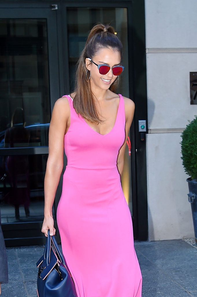 MANHATTAN, NY - AUGUST 25, 2016: Jessica Alba in a pink long dress steps out in Soho on AUGUST 25, 2016 in New York, Image: 297908769, License: Rights-managed, Restrictions: *US MAGAZINES-PLEASE REPORT USAGE* **FEE MUST BE AGREED PRIOR TO USAGE** ***E-TABLET/IPAD & MOBILE PHONE APP***, Model Release: no, Credit line: Profimedia, Buzzfoto