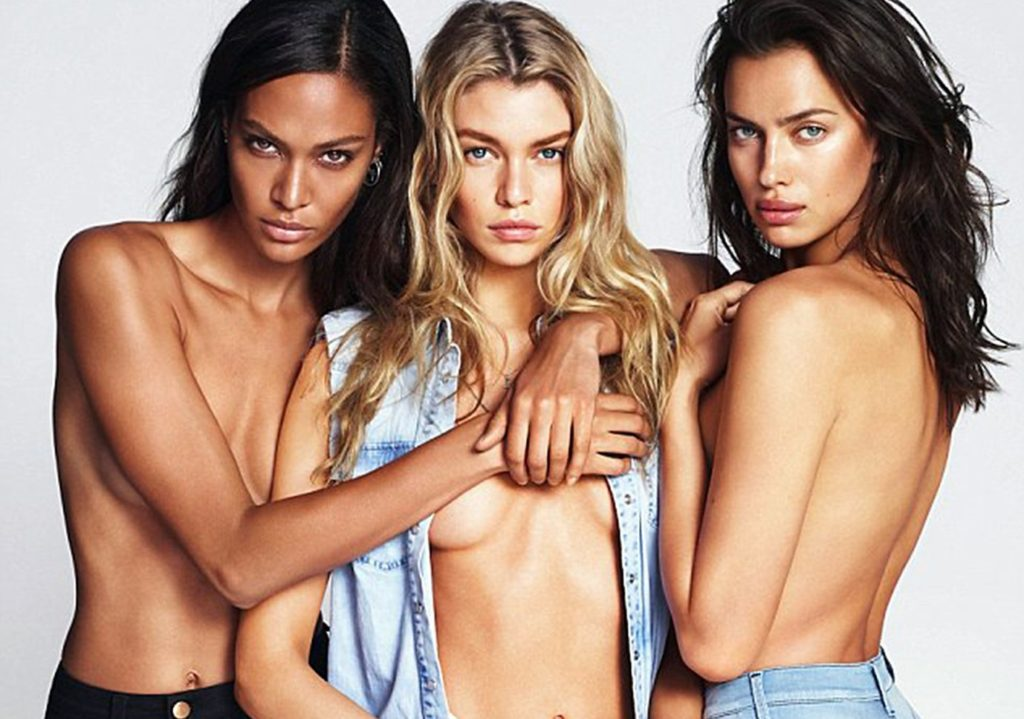 Fashion models Irina Shayk, Joan Smalls and Stella Maxwell pose topless for Replay Fall Winter 2016 advertising campaign., Image: 307963680, License: Rights-managed, Restrictions: EDITORIAL USE ONLY, Model Release: no, Credit line: Profimedia, Balawa Pics