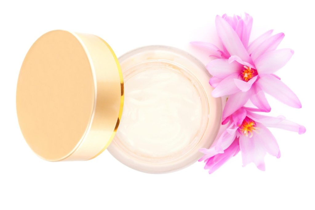 Cosmetic cream with blossom, top view isolated on white background. Luxurious cosmetics and makeup concept., Image: 317114730, License: Royalty-free, Restrictions: , Model Release: no, Credit line: Profimedia, Alamy
