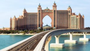 DUBAI, UAE - JANUARY 26: Atlantis the Palm is a luxury hotel in Dubai, Monorail connects the Palm Jumeirah to the mainland. UAE circa January 2016, Image: 318833668, License: Rights-managed, Restrictions: , Model Release: no, Credit line: Profimedia, Alamy