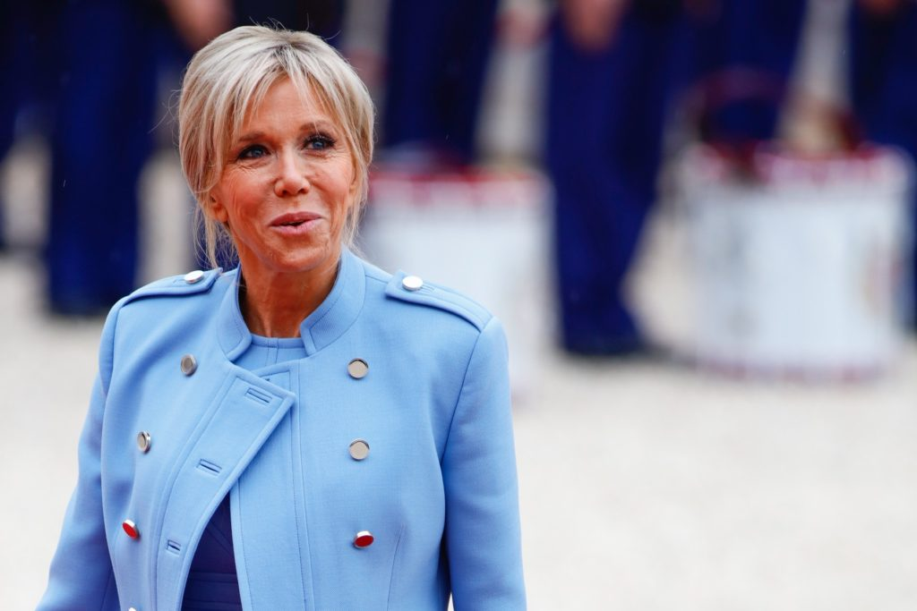 The wife of Emmanuel Macron, Brigitte Trogneux, arrives at the Elysee presidential Palace to attend Emmanuel Macron's formal inauguration ceremony as French President on May 14, 2017 in Paris., Image: 332263914, License: Rights-managed, Restrictions: Worldwide rights, Model Release: no, Credit line: Profimedia, Crystal pictures