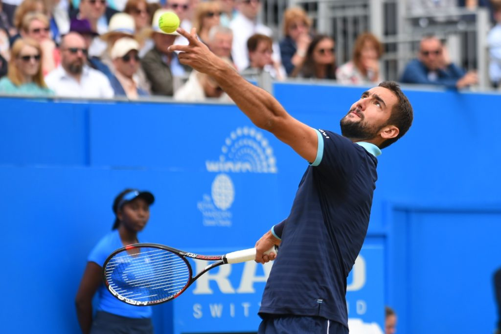 June 24, 2017 - London, England, United Kingdom - Marin Cilic of Croatia servers during the mens singles semi-final match against Gilles Muller of Luxembourg on day six of the 2017 Aegon Championships at Queens Club on June 24, 2017 in London, England., Image: 339069604, License: Rights-managed, Restrictions: * France Rights OUT *, Model Release: no, Credit line: Profimedia, Zuma Press - News