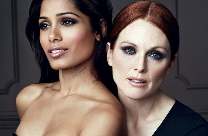 Famous actresses and models pose together for the Collection Privee by Color Riche of L'Oreal Paris. Pictured: Julianne Moore and Freida Pinto. EDITORIAL USE (HO) - 06/09/2013, Image: 171267565, License: Rights-managed, Restrictions: Pictures in this set: 004. As the promotional pictures in this set are defined as 'Hands Out' (HO), the supplier can«t be considered responsible of subsequent sales or any other legal matter concerning to the material provided. These promotional pictures has been provided without Êany compromise between the parts and it is only under the responsibility of the recipient, who acknowledges the reception of these pictures as 'Hands Out'., Model Release: no, Credit line: Profimedia, Balawa Pics