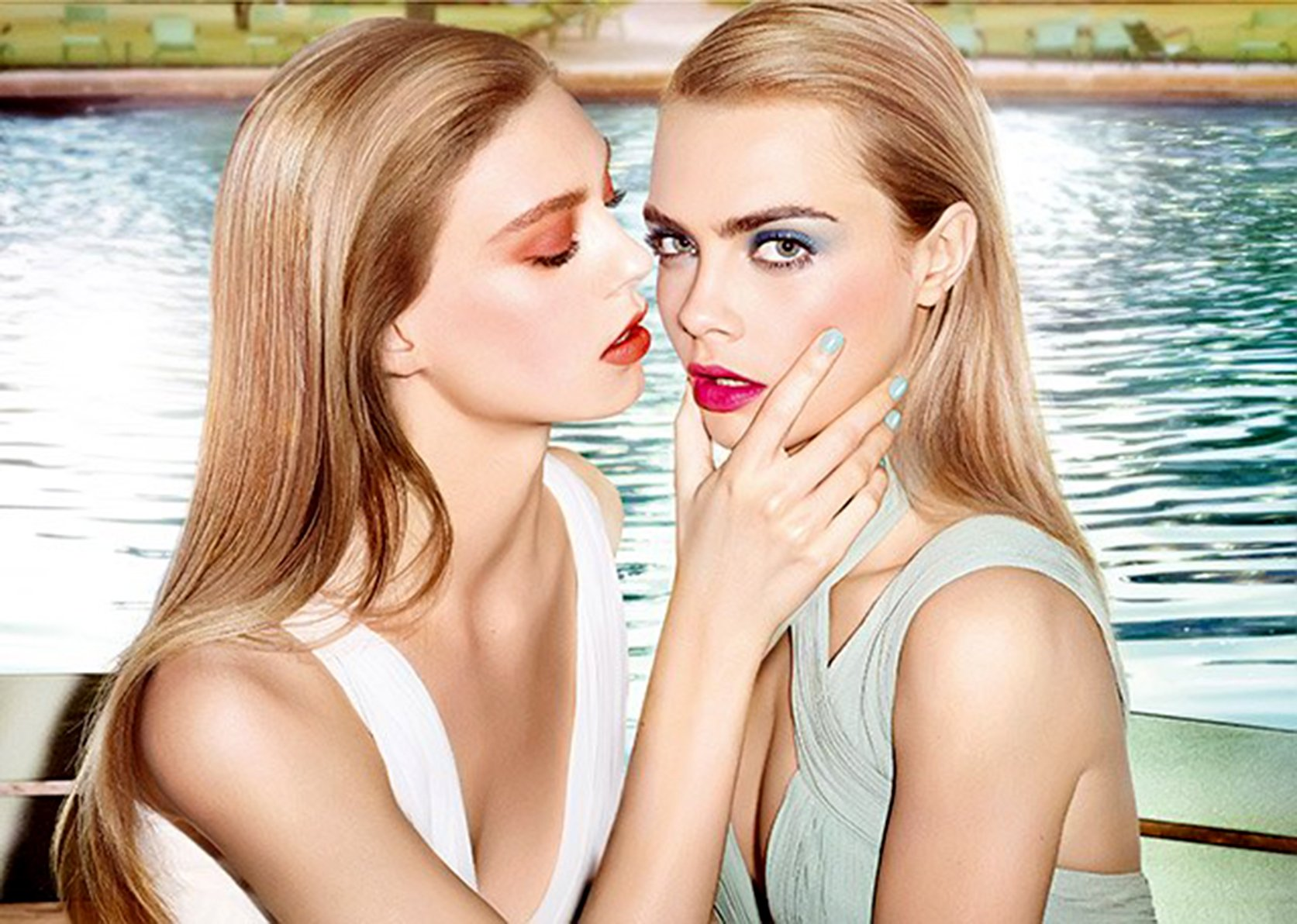 Models Cara Delevingne and Ondria Hardin in a new image for Yves Saint Laurent Baby Doll Kiss Blush Spring Summer 2014 ad campaign., Image: 189419565, License: Rights-managed, Restrictions: EDITORIAL USE / 01 pics., Model Release: no, Credit line: Profimedia, Balawa Pics
