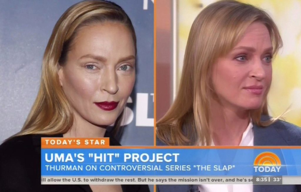 "12 February 2015-NYC-USA **** STRICTLY NOT AVAILABLE FOR USA *** Actress Uma Thurman says she was really flattered when she heard the new song that is taking the US charts by storm - a song by rockers Fall Out Boy simply titled 'Uma Thurman' Appearing on the The Today Show, the Pulp Fiction actress spoke about the song and said: """"I'm so flattered, its so nice."" Then talking about how the band had actually asked her permission if they could sing about her she said: ""Its incredibly chilvalrus as no one ever asks permission for anything anymore and you don't really expect it. I was really flattered and im so happy for them and its really cute."" Asked if she would then perhaps shoot a video with the band for the song she coyly said: ""Um well, i dont know, well yeah sure. We'll see This week Thurman has found herself being the victim of online jibes about her look after she appeared at the tv premiere of her new show The Slap this week. A lot of people were saying the actress looked a lot different from her usual self. Addressing the criticism, Thurman said: ""I guess no one liked my make-up. I dont know. Ive been doing this for years and years and years and people say things nice and people say things mean and im just like whatever. You know you take the good things with the bad"" The talking about her new show The Slap which has caused a huge stir because it centers around someonelse disciplining a child of another friend as the man slaps a child for bad behavior. Talking about the scene and child abuse, Thurman said: ""Its just not done.! It happens all the time in this country and it often doesn't happen necessarily outside of nuclear family but i think what makes this piece so compelling is that it brings up a serious conversation."", Image: 218068304, License: Rights-managed, Restrictions: PLEASE CREDIT AS PER BYLINE *UK CLIENTS - PLEASE PIXELATE CHILDS FACE BEFORE PUBLICATION **UK CLIENTS MUST CALL PRIOR TO TV OR ONLINE USAGE, Model Release: no, Credit line: Profimedia, Xposurephotos"
