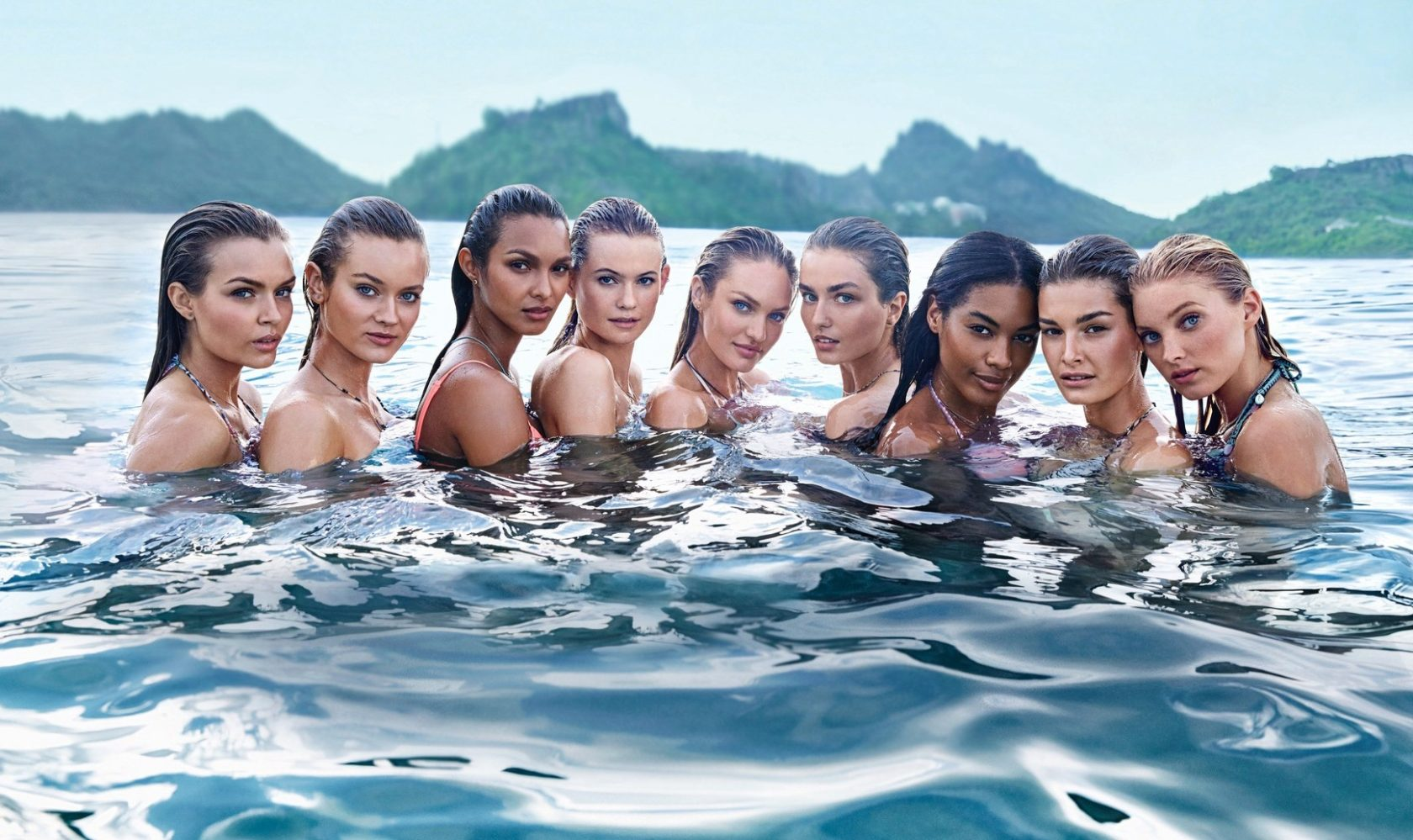 Victoria's Secret Supermodels: Josephine Skriver, Jac Jagaciak, Lais Ribiero, Behati Prinsloo, Candice Swanepoel , Andreea Diaconu, Sharam Diniz, Ophelie Guillermand and Elsa Hosk pose for The New Swim 2015 Catalogue, Image: 218650793, License: Rights-managed, Restrictions: Worldwide rights, Model Release: no, Credit line: Profimedia, Crystal pictures
