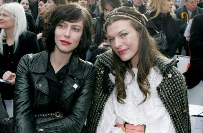 D 98445-11 Anna Mouglalis and Milla Jovovich . . Actress Anna Mouglalis and Model Milla Jovovich (right) at the Chanel Paris Autum Winter 2009/10 show as part of Paris Fashion Week, France, 10/03/2009., Image: 220298498, License: Rights-managed, Restrictions: , Model Release: no, Credit line: Profimedia, TEMP Camerapress