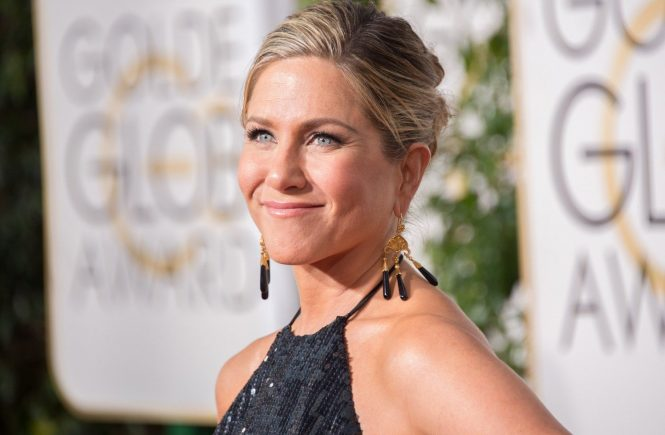 "Nominated for BEST PERFORMANCE BY AN ACTRESS IN A MOTION PICTURE – DRAMA for her role in ""CAKE"", actress Jennifer Aniston attends the 72nd Annual Golden Globe Awards at the Beverly Hilton in Beverly Hills, CA on Sunday, January 11, 2015., Image: 231934356, License: Rights-managed, Restrictions: FOR EDITORIAL USE ONLY. NOT FOR COVER USAGE., Model Release: no, Credit line: Profimedia, TEMP Camerapress"