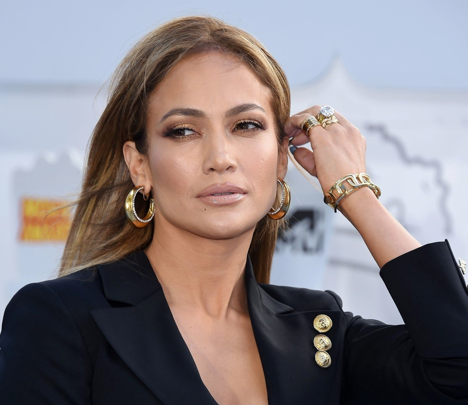 April 12, 2015 - Los Angeles, California, U.S. - Jennifer Lopez arrives for the 2015 MTV Movie Awards at the Nokia theater. (Credit Image: © Lisa O'Connor/ZUMA Wire)