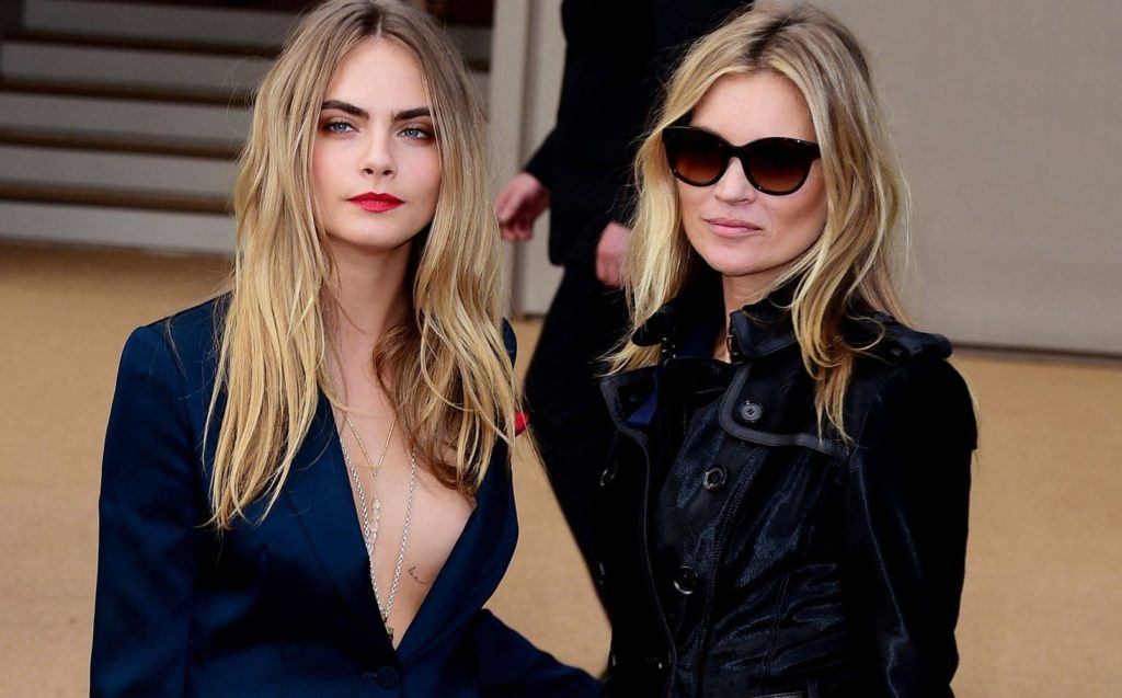 File photo dated 15/9/2014 of Cara Delevingne (left) and Kate Moss who say they fed up with selfie requests in restaurant toilets., Image: 262013433, License: Rights-managed, Restrictions: FILE PHOTO, Model Release: no, Credit line: Profimedia, Press Association