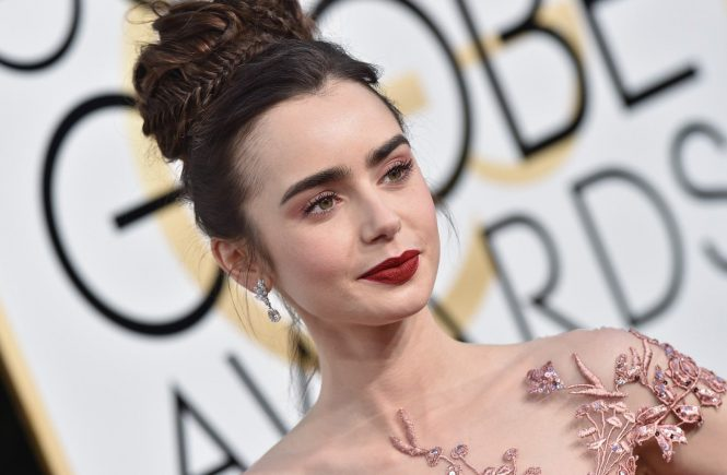 74th Annual Golden Globe Awards - Arrivals. The Beverly Hilton Hotel, Beverly Hills, CA. Pictured: Lily Collins. EVENT January 8, 2016 Job: 170108A2, Image: 310362078, License: Rights-managed, Restrictions: 000, Model Release: no, Credit line: Profimedia, Bauer Griffin