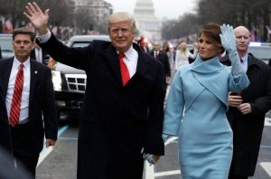 Jan 20, 2017; Washington, DC, USA; President Donald Trump waves as he walks with first lady Melania Trump during the inauguration parade on Pennsylvania Avenue., Image: 312115027, License: Rights-managed, Restrictions: *** World Rights ***, Model Release: no, Credit line: Profimedia, SIPA USA