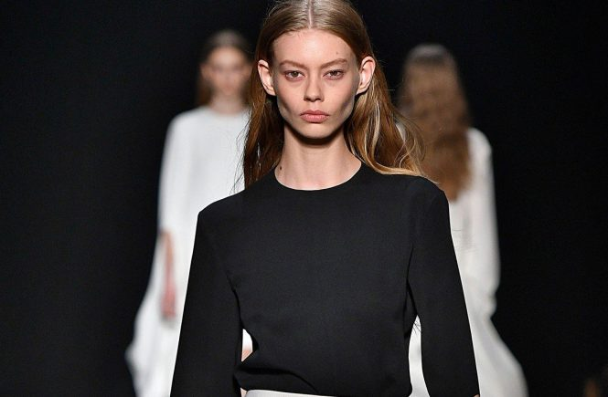 Model Ondria Hardin walks on the runway during the Narciso Rodriguez Fashion Show at FW17 held at Sir Stage 37 in New York, NY on February 14, 2017., Image: 321204514, License: Rights-managed, Restrictions: EDITORIAL USAGE ONLY, all other usage only after written permission, Model Release: no, Credit line: Profimedia, SIPA USA