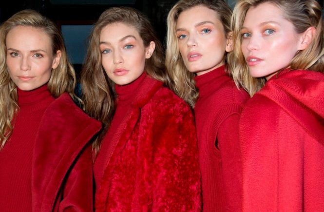 FOR EDITORIAL USE ONLY. Max Mara. Backstage Milan Ready to Wear. Autumn/Winter 2017. Natasha Poly, Gigi Hadid, Lily Donaldson. ALTERNATIVE IMAGES AVAILABLE ON REQUEST., Image: 328259039, License: Rights-managed, Restrictions: , Model Release: no, Credit line: Profimedia, TEMP Camerapress