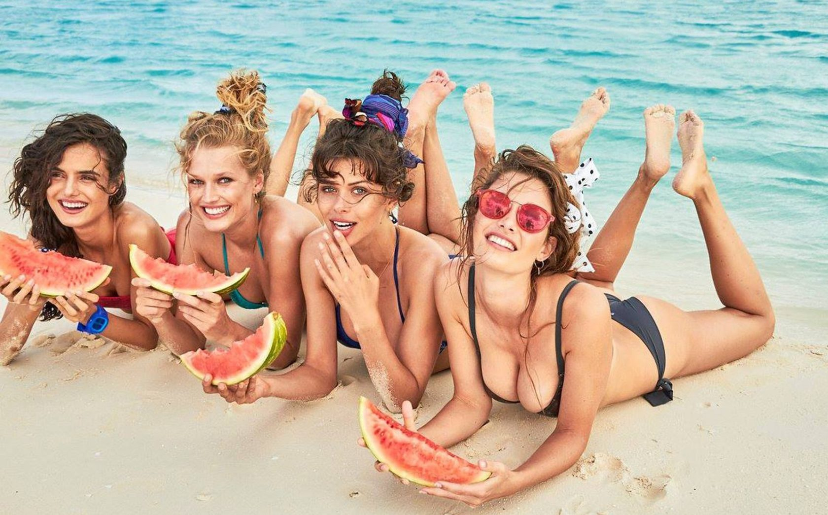 Fashion models Spanish Blanca Padilla and German Toni Garrn star in Calzedonia Spring Summer 2017 swimwear collection., Image: 329528994, License: Rights-managed, Restrictions: EDITORIAL USE ONLY, Model Release: no, Credit line: Profimedia, Balawa Pics