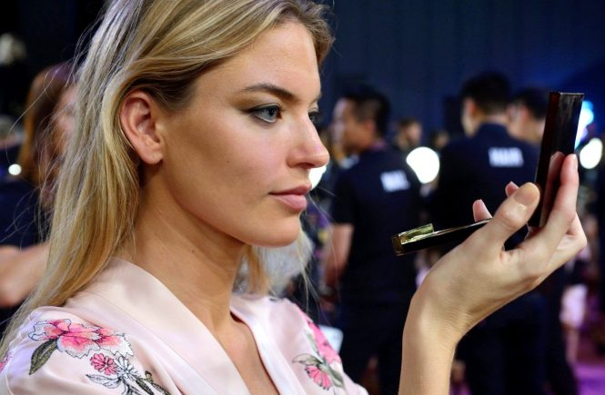 A model is getting prepared in Backstage ahead of the Victoria's Secret Fashion Show at the Mercedes-Benz Arena Shanghai in Shanghai, China on November 20, 2017. Photo by Aurore Marechal/ABACAPRESS.COM