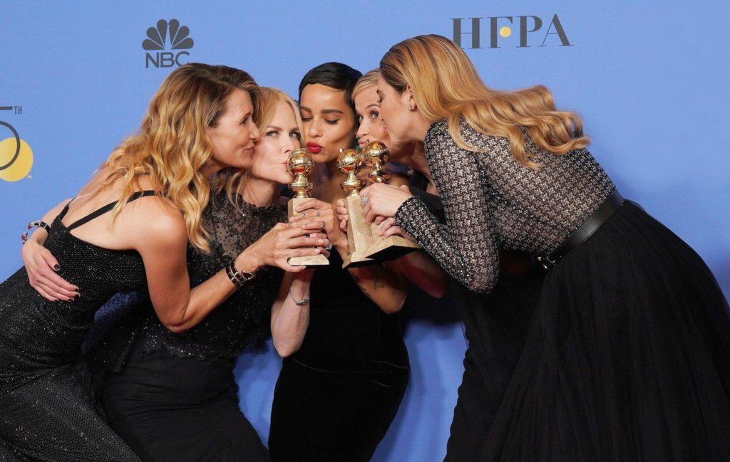 Beverly Hills, CA  - 75th Annual Golden Globe Awards - Press Room held at The Beverly Hilton Hotel in Beverly Hills, California on 1/8/18.  Pictured: Laura Dern, Nicole Kidman, Zoe Kravitz, Reese Witherspoon, Shailene Woodley  BACKGRID USA 7 JANUARY 2018, Image: 359555019, License: Rights-managed, Restrictions: , Model Release: no, Credit line: Profimedia, AKM-GSI