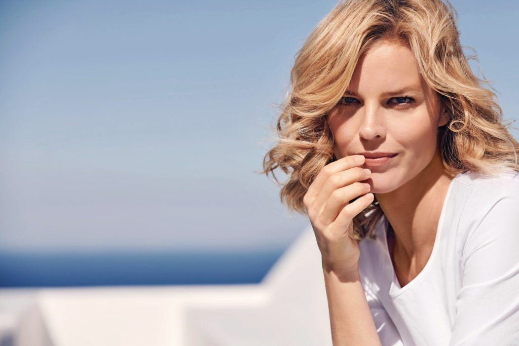 Eva Herzigova, the face of the Gerry Weber Spring/Summer 2018 collection. Photographed by Pamela Hanson in Santorini., Image: 363909482, License: Rights-managed, Restrictions: FOR EDITORIAL USE ONLY. NOT FOR COVER USAGE., Model Release: no, Credit line: Profimedia, TEMP Camerapress
