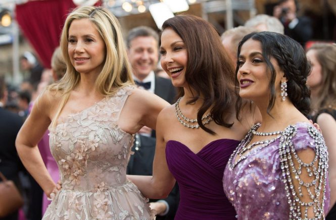 Mira Sorvino, Ashley Judd, and Salma Hayek arrive on the red carpet of The 90th Oscars at the Dolby Theatre in Hollywood, CA on Sunday, March 4, 2018., Image: 365057494, License: Rights-managed, Restrictions: NO ITALY, GERMANY, BENELUX, USA or AUSTRALIA - Fee Payable Upon Reproduction - For queries contact Avalon.red - sales@avalon.red London: +44 (0) 20 7421 6000 Los Angeles: +1 (310) 822 0419 Berlin: +49 (0) 30 76 212 251 Madrid: +34 91 533 4289, Model Release: no, Credit line: Profimedia, Uppa entertainment