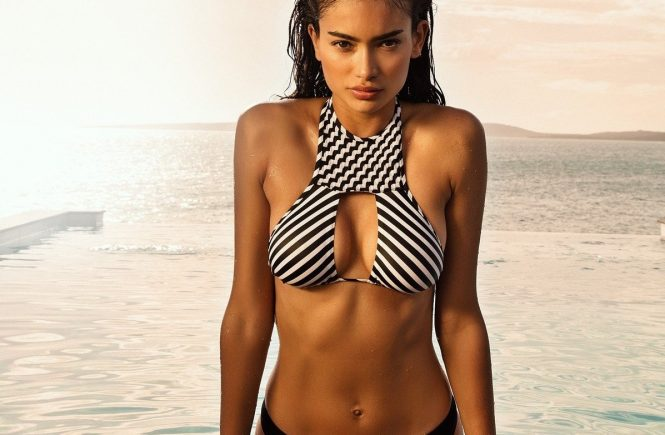 Shes posed for some of the hottest brands and mags on the planet and for her latest turn, Australian-Swedish-Indian model Kelly Gale looks out of this world. The 23-year-old Chanel, Victorias Secret and Sports Illustrated Swimsuit star has now been snapped up by Italian brand Yamamay, and is seen here duly modeling some swimsuits from the summer 2018 collection. Posing in front of palm trees, the ocean in the background, and sitting on a wooden dock, Kelly strike some seriously sexy poses for the Puerto Rico campaign, which is also raising awareness about the environment with a #savetheocean hashtag. And if we are to expect more shots of Kelly posing in her bikini by the ocean, then its certainly worth saving. 30 May 2018, Image: 373412028, License: Rights-managed, Restrictions: World Rights, Model Release: no, Credit line: Profimedia, Mega Agency