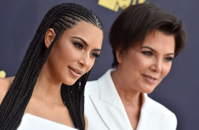 2018 MTV Movie and TV Awards. Barker Hangar, Santa Monica, California. Pictured: Kim Kardashian and Kris Jenner. EVENT June 16, 2018 Job: 180616A1, Image: 375185959, License: Rights-managed, Restrictions: 000, Model Release: no, Credit line: Profimedia, Bauer Griffin