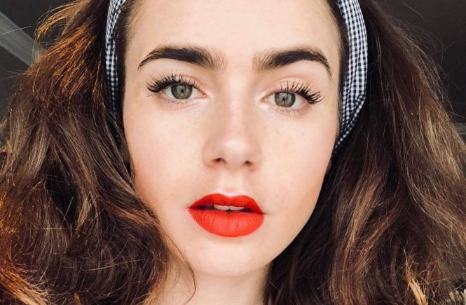 """Lily Collins (lilyjcollins / 04.07.2018): Rockabilly Lily bringing the festivities to Europe. Happy 4th of July!.."""""""", Image: 376942232, License: Rights-managed, Restrictions: , Model Release: no, Credit line: Profimedia, Face To Face A"""